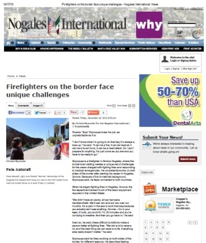 An Interesting Job: Firefighters on the Border (a version of this article was published in the Nogales International on December 28, 2012)